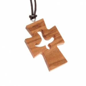 Holz Kreuzanhänger: Kreuz Anhänger Taube aus Olivenholz