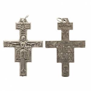 Eigenbau Rosenkränze: Kreuz für Rosenkränze San Damiano aus versilbertem Metall h. 3,6