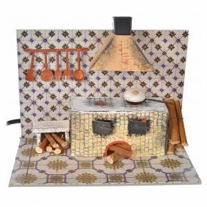 Hauszubehör für Krippe: Küche mit Feuereffekt bewegliche Szene