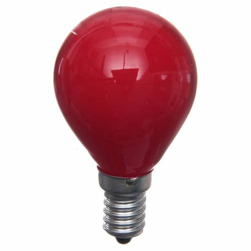 Lampada 25W rossa E14 per illuminazione presepi s1