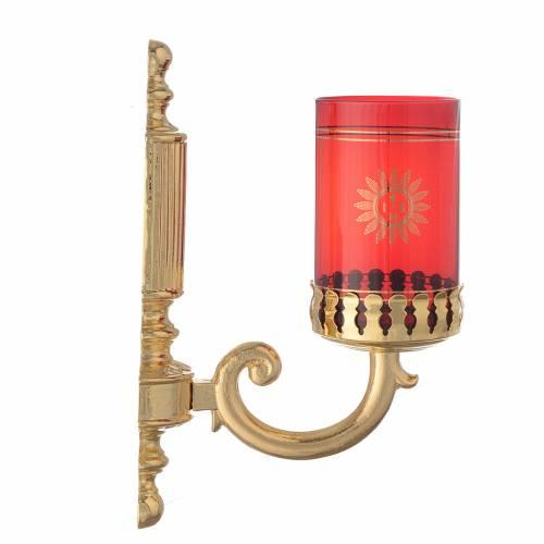 Lampada a parete ottone rigato per vetro rosso s2