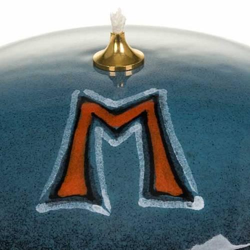 Lampada ciotola ceramica blu simbolo mariano s3