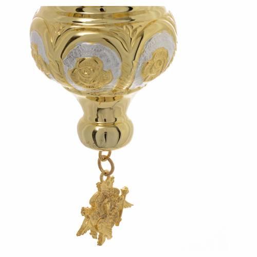 Lampe Très-Saint-Sacrement orthodoxe dorée 14x12 cm s4