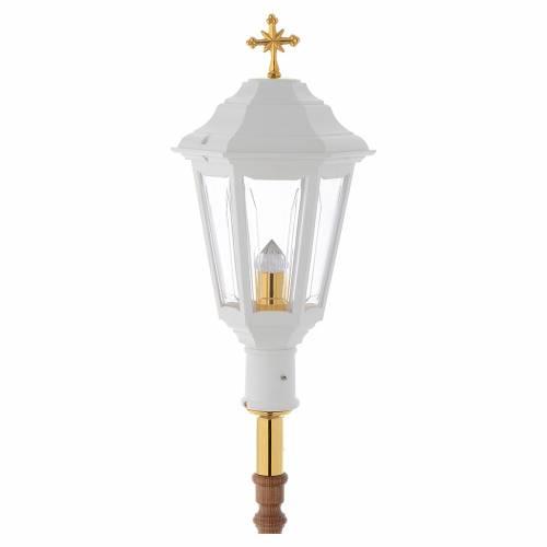 Lampione da processione bianco manico legno 2 mt s1