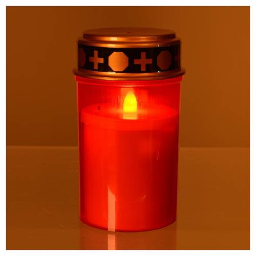 LED votive candle with red flickering light s2