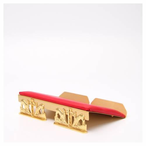 Leggio da mensa dorato cuscinetto ottone cervi alla fonte s2