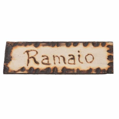 Letrero artesano del cobre, madera para belén 2,5x9cm s1