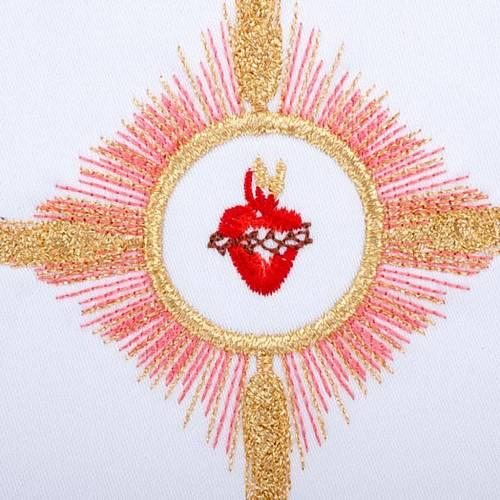 Linge d'autel 4 pcs brodé Sacre Coeur de Jésus s3
