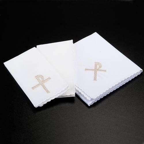 Linge d'autel 4 pièces symbole croix P raisins et &e s2