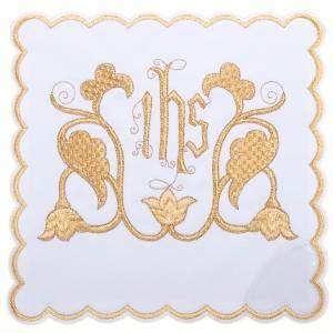 Linges d'autel: Linge d'autel 4 pièces symbole IHS et décors