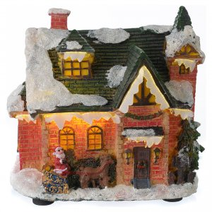 Christmas villages sets: Little house covered with snow for winter village 15x10x15 cm