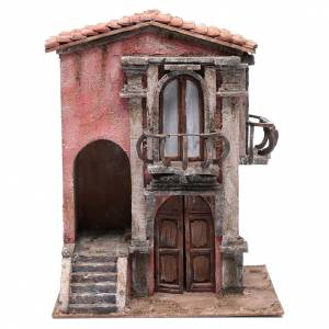 Settings, houses, workshops, wells: Little nativity scene house with staircase  35x30x20 cm