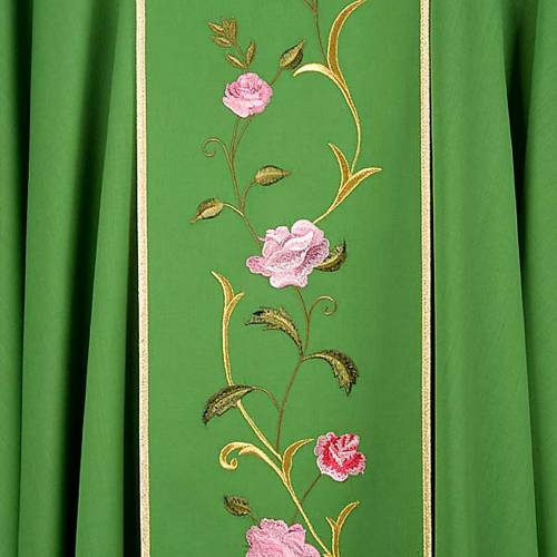 Liturgical chasuble in 100% wool, IHS and roses s6