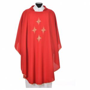 Liturgical chasuble in polyester with four crosses s8