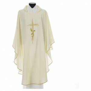 Liturgical Chasuble in polyester with JHS and wheat embroidery s5