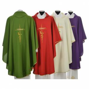 Liturgical Chasuble in polyester with JHS and wheat embroidery s2