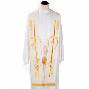 Stoles: Liturgical stole with golden cross ear of wheat and grapes