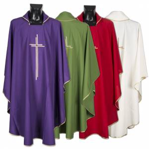 Chasubles: Liturgical vestment in polyester with stylized double cross
