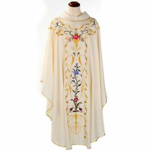 Chasubles: Liturgical vestment in wool with floral embroideries