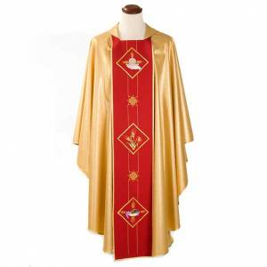 Chasubles: Liturgical vestment with host, ears of wheat and grapes