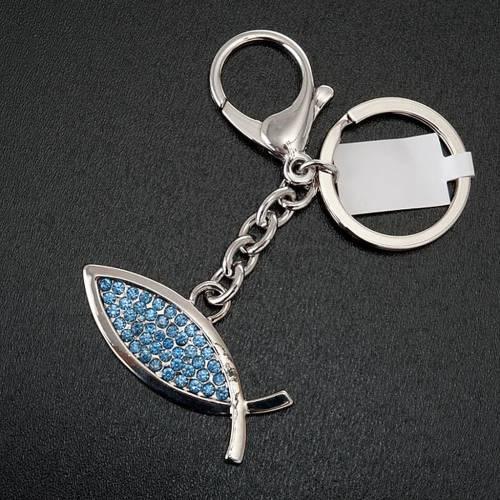 Llavero metal pez azul s3