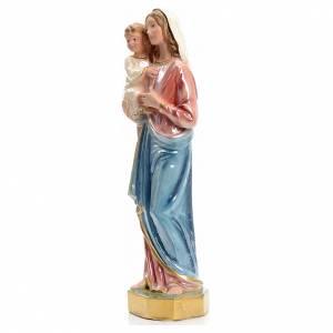 Madonna con bambin Gesù 25 cm gesso madreperlato s2