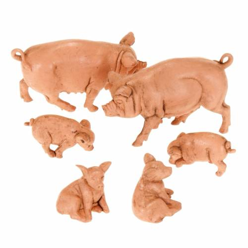 Famiglia di maiali per presepe 6 pz. 10 cm s1