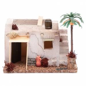 Maisons, milieux, ateliers, puits: Maison arabe avec palmier e tente parasol en polyester 20x15x15 cm