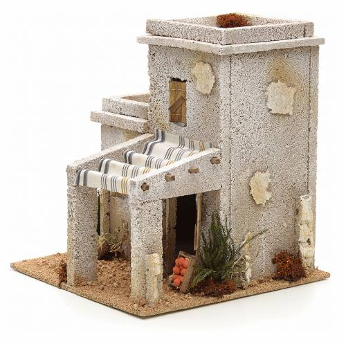 Maison arabe en miniature avec magasin de fruits pour crèche s3