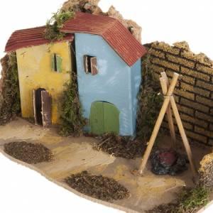 Maison décor crèche en bois avec feu s2
