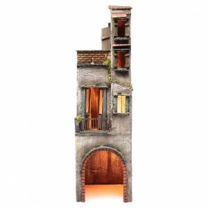 Crèche Napolitaine: Maison illuminée en bois pour crèche napolitaine 73x20x21 cm