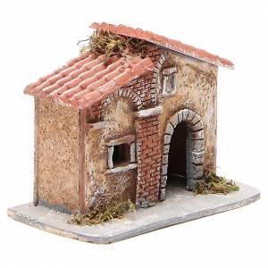 Maison liège et résine crèche napolitaine 15x15x11 cm s3