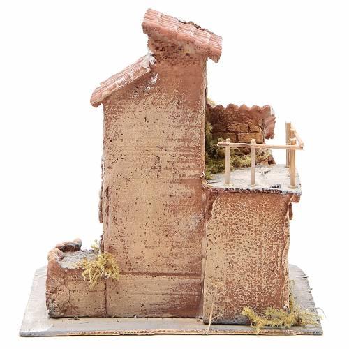 Maisonnette résine et bois crèche napolitaine 25x22x20 cm s4