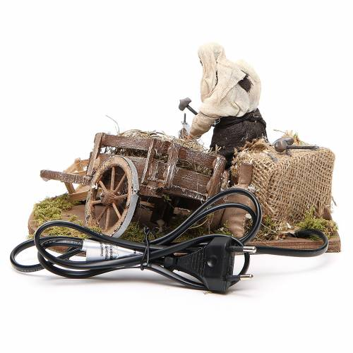 Man fixing wheel with cart, animated Neapolitan Nativity figurine 12cm s4