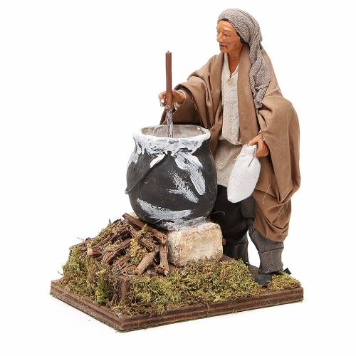 Man making polenta, animated Neapolitan Nativity figurine 14cm s2