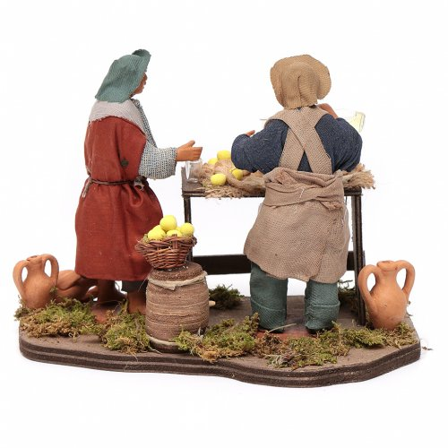 Man selling lemons with stall, Neapolitan nativity figurine 12cm s4