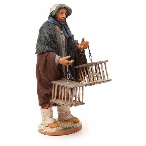 Man with cages and birds, Neapolitan nativity figurine 30cm s4