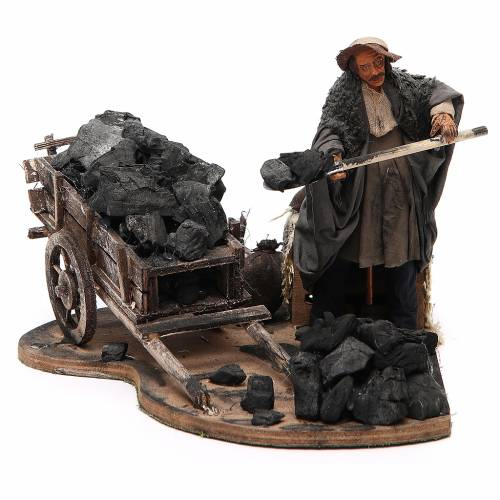 Man with coal cart, animated Neapolitan Nativity figurine 14cm s1