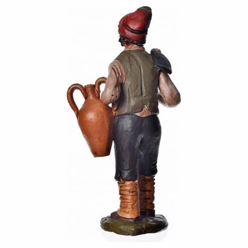 Man with hoe and amphora, 18cm terracotta, Deruta s4