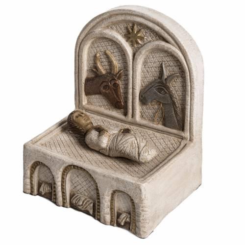 Mangiatoia e Gesù pietra Bethléem Gran Presepe Autunno bianco s3