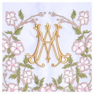 Manteles de altar: Mantel de altar 165x300 cm flores rosas y Santísimo Nombre de María