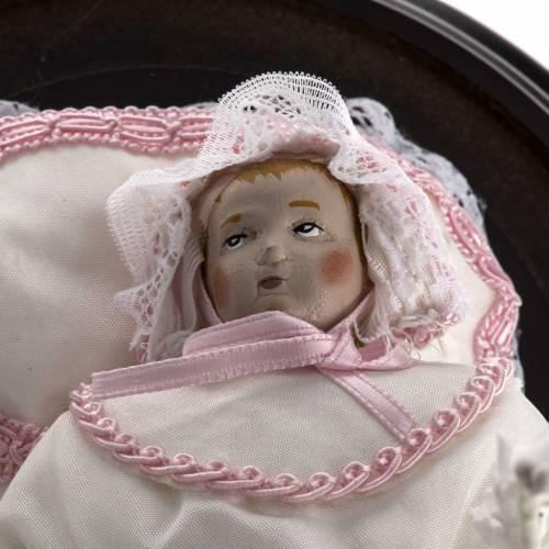 Maria bambina statua terracotta cm 18 in campana vetro s4