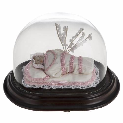 Maria bambina statua terracotta cm 18 in campana vetro s1