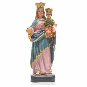 Statuen aus Harz und PVC: Maria Helferin mit Heiligenbildchen GEBET AUF ITALIENISCH 12 cm