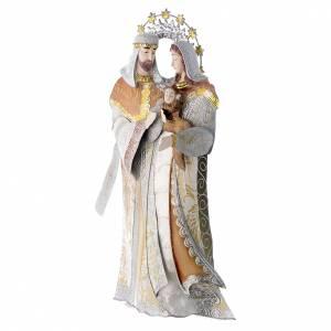 Stilisierte Krippe: Maria Josef und Christkind aus stilisierten Metall