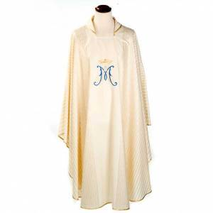 Marian chasuble in wool with metallic motifs s1