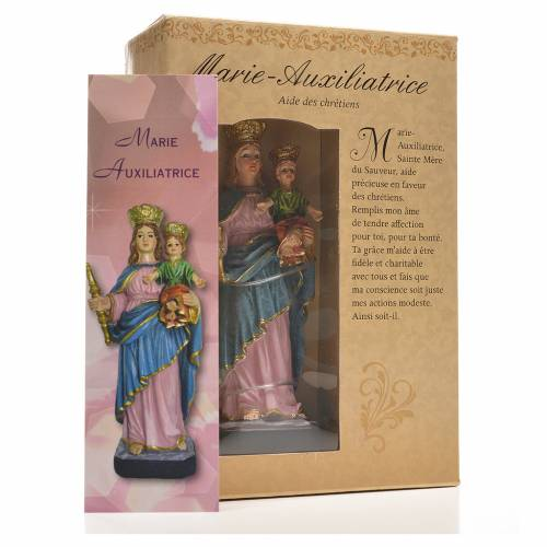 Mary Help of Christians 12cm with image and FRENCH PRAYER s3