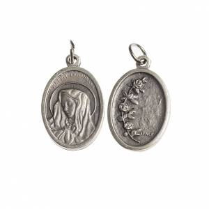 Mater Dolorosa medal, oval decorated edges galvanic antique silv s1