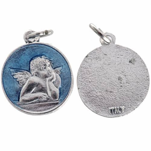Medaglia angelo smaltata azzurro 2 cm s1