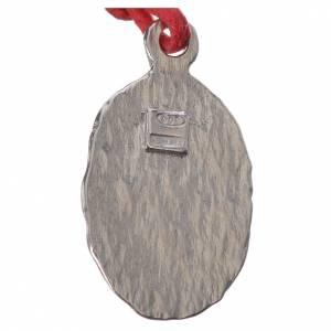 Medaglia bicolore  Argento Lourdes corda rossa s2